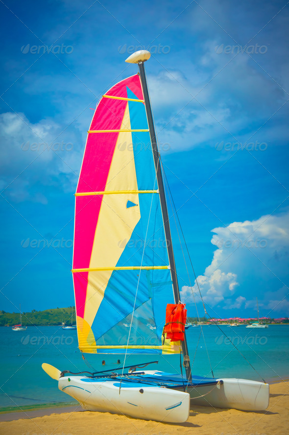 PhotoDune Sailboat at the ocean coast Saint Lucia Caribbean Islands 3969934