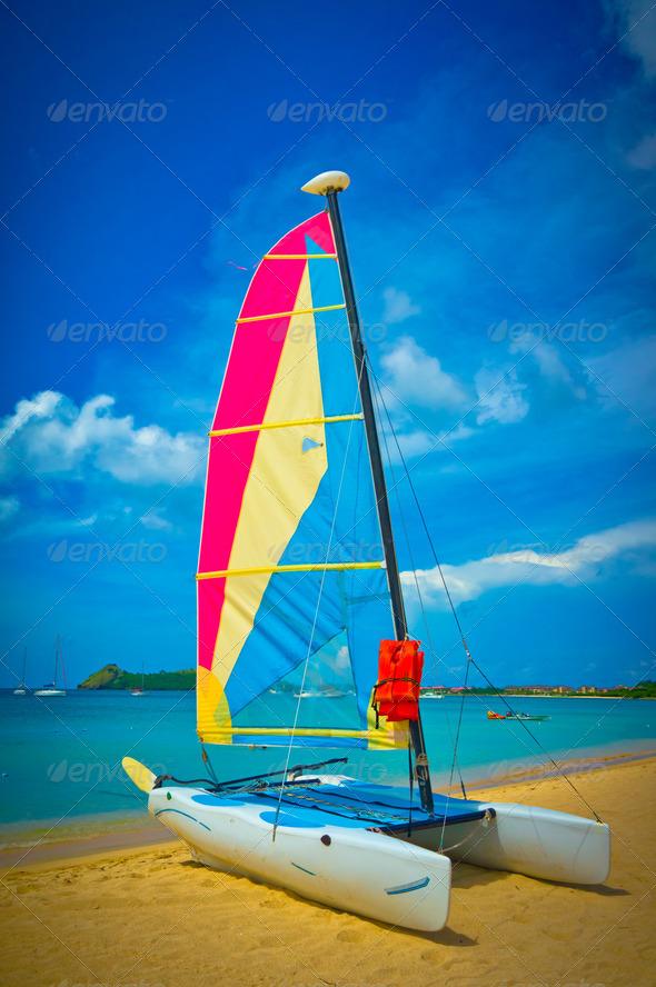 PhotoDune Sailboat at the ocean coast Saint Lucia Caribbean Islands 3969945