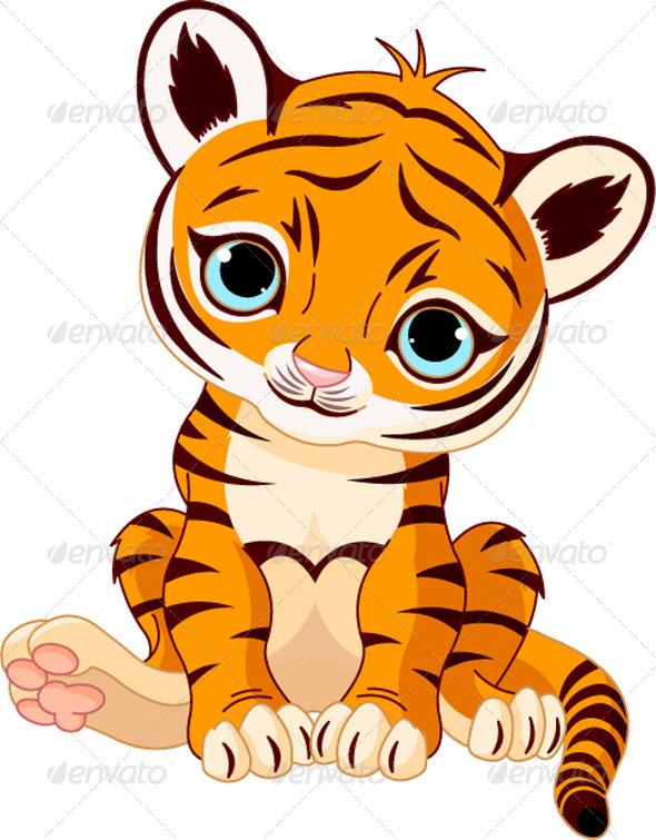 Cute tiger cub GraphicRiver - Vectors - Characters Animals 428514