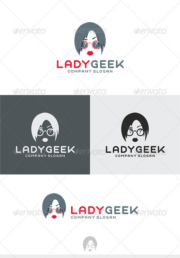 Lady Geek Logo - Humans Logo Templates