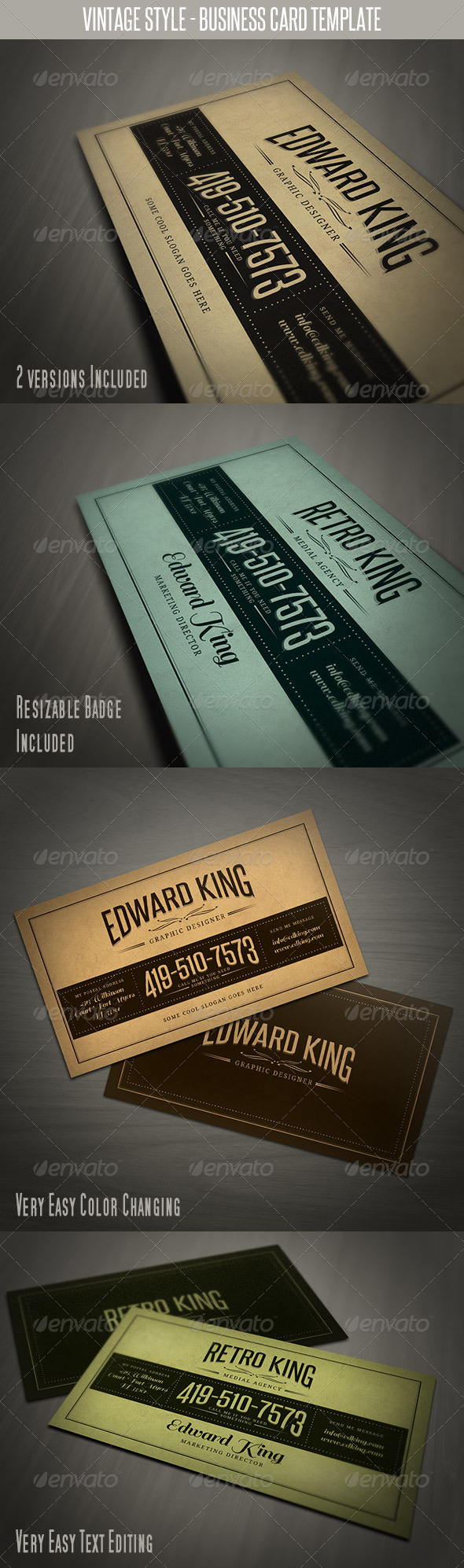 GraphicRiver Vintage Style Business Card Template 3971837