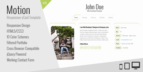 ThemeForest Motion Responsive vCard Template 3968041