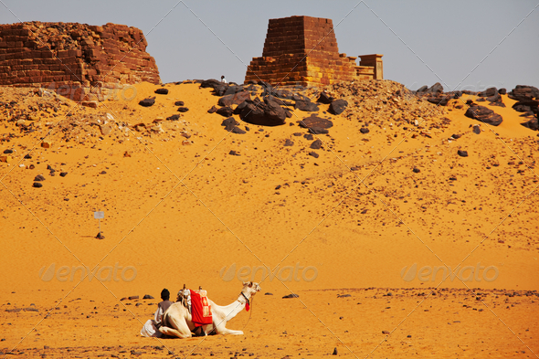 Pyramid in Sudan - Stock Photo - Images