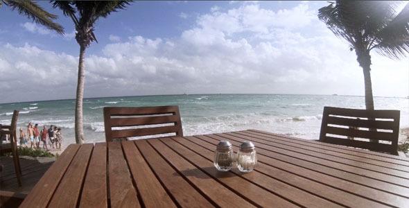 Restaurant Table Facing The Caribbean Sea