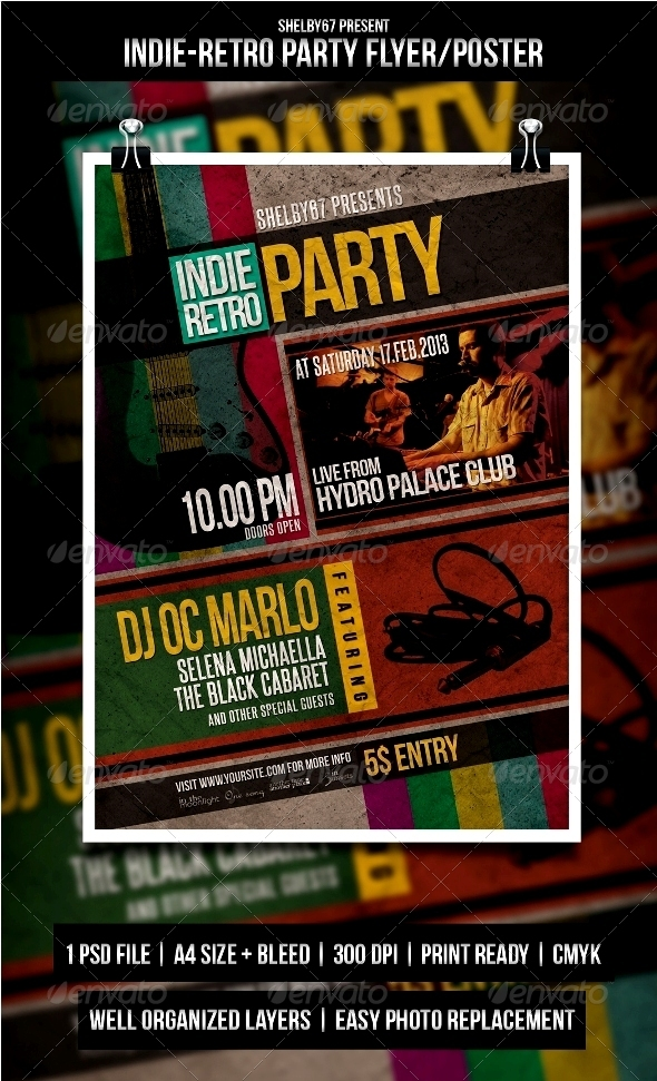 Indie Retro Party Flyer / Poster - Events Flyers