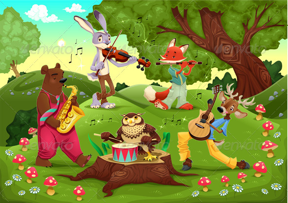 GraphicRiver Musicians animals in the wood 3972865