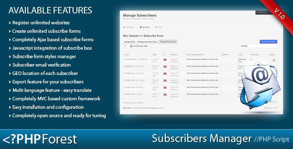 CodeCanyon Subscribe forms generator and subscribers manager 3958343