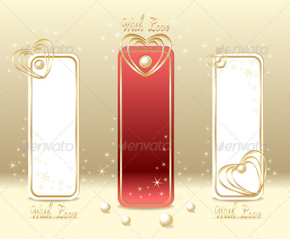 GraphicRiver Set Royal Love Labels with hearts and pearls 3973391