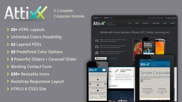 ThemeForest Attixx Responsive Corporate HTML Theme 3964996