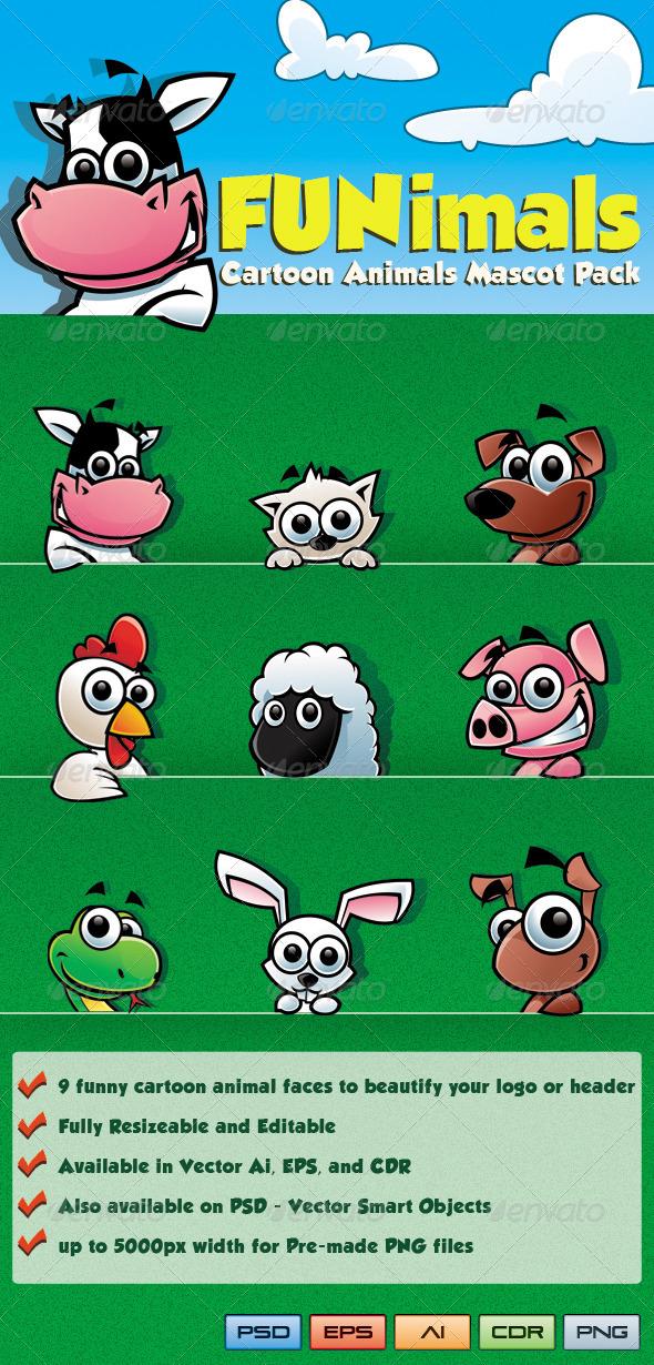 GraphicRiver Funimals Cartoon Animals Mascot Pack 3974158