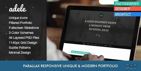 Adele One Page Parallax Fullscreen Portfolio PSD - Creative PSD Templates