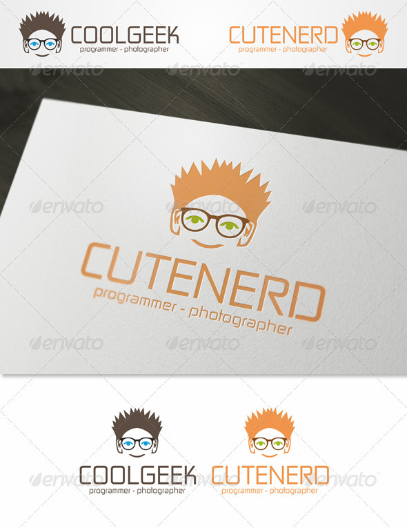 Cute Nerd - Geek Logo Template - Humans Logo Templates