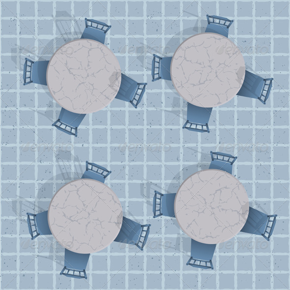 GraphicRiver Overhead View Of A Cafe Table With Chairs 3974534