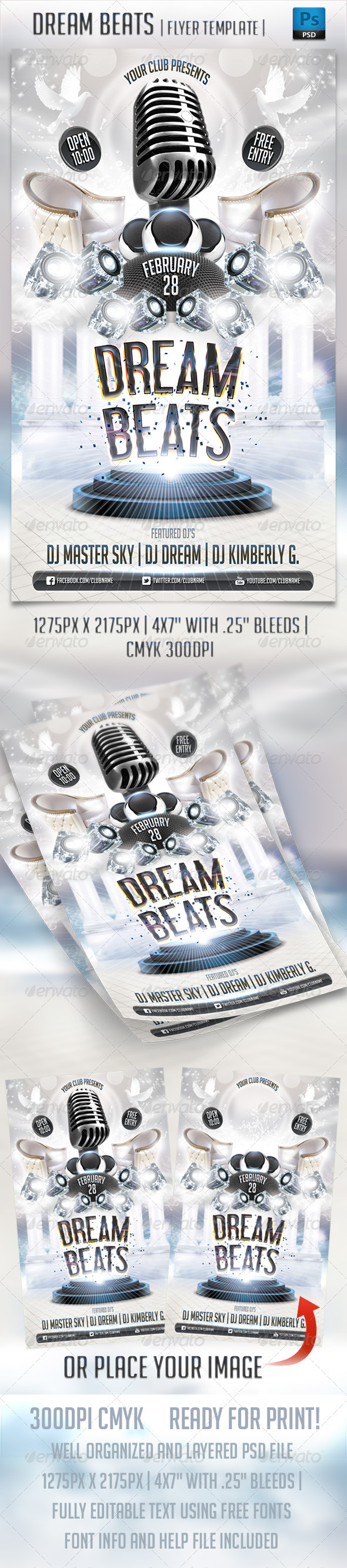 Dream Beats Flyer Template - Clubs & Parties Events