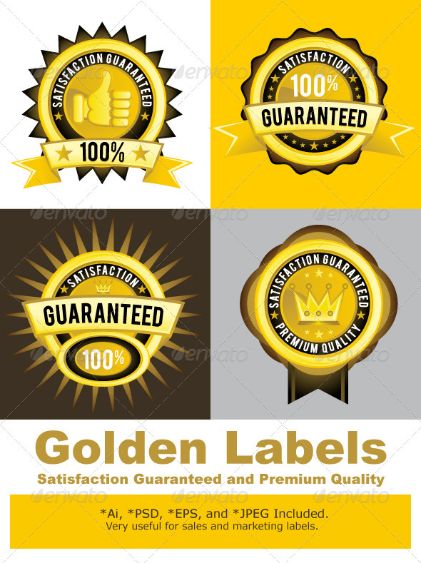 Satisfaction Guaranteed and Premium Quality Gold - Decorative Vectors