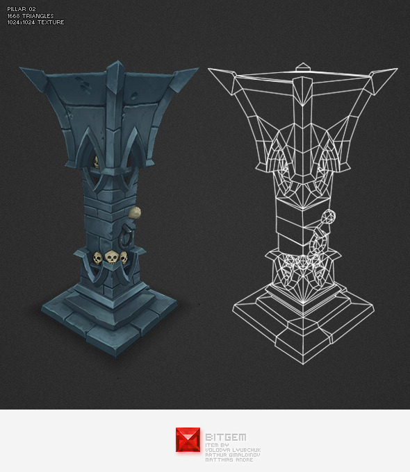 3DOcean Low Poly Dungeon Pillar 02 3975001