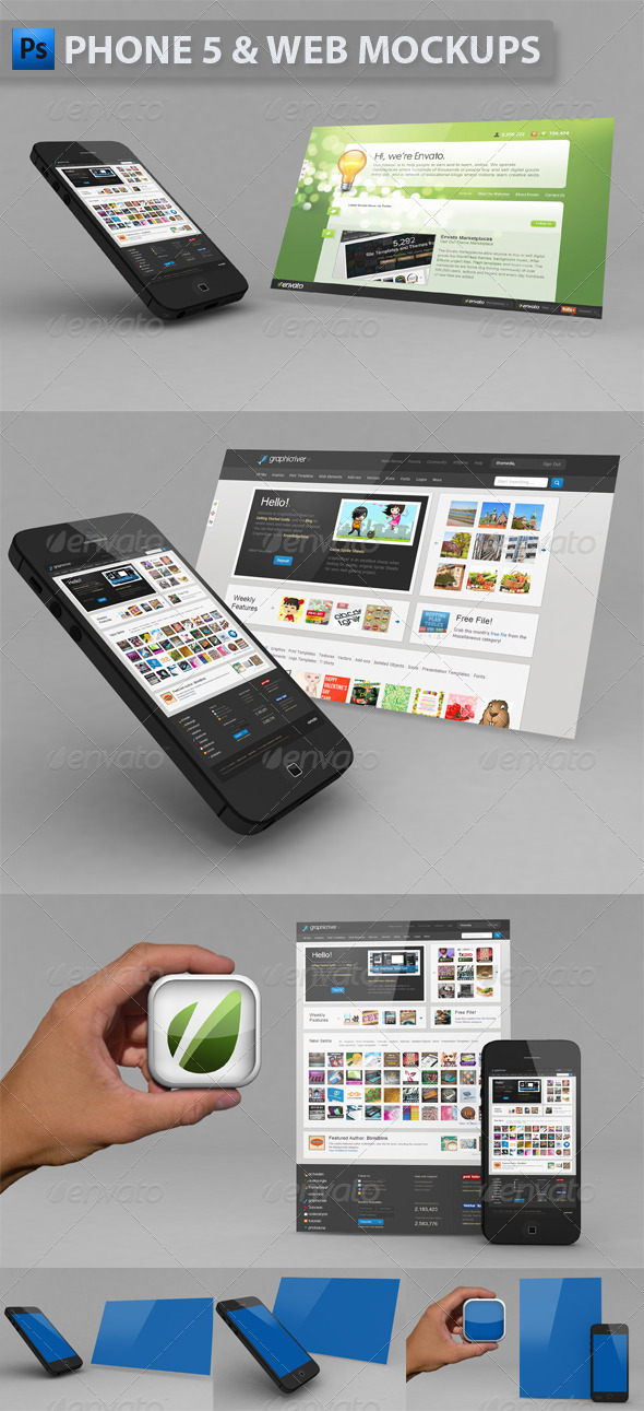 GraphicRiver Phone 5 & Website Mockup 3975257