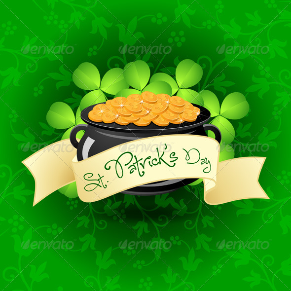 GraphicRiver St Patricks Day Cauldron with Gold Coins 3976390