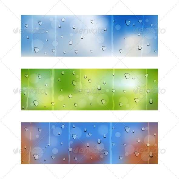 GraphicRiver Drops on Window Glass Seamless Banners 3976545
