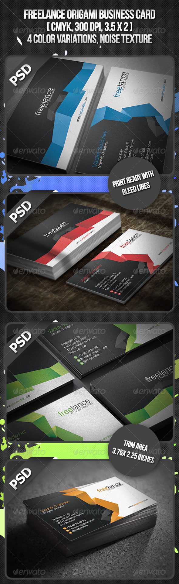 GraphicRiver Freelance Origami Business Card 3976548