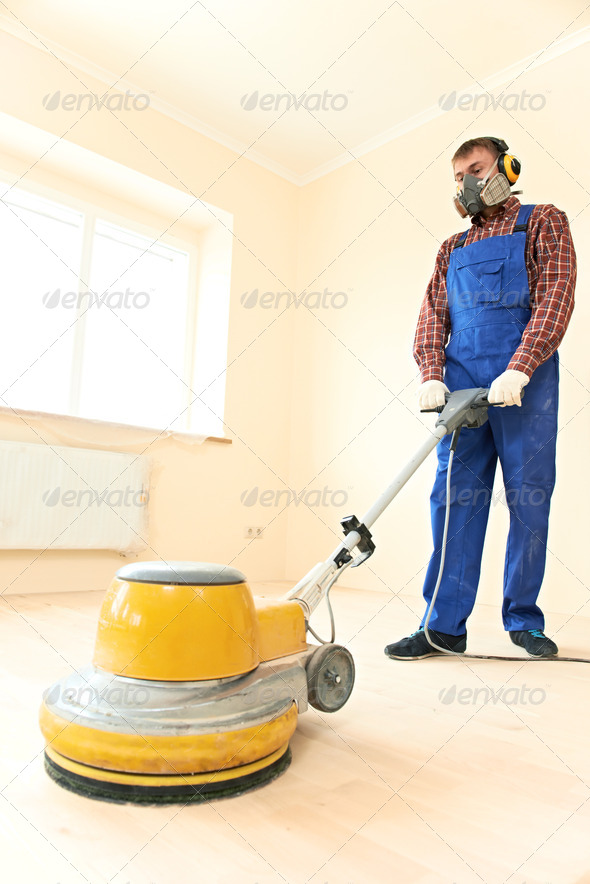 Parquet Floor maintenance by grinding machine - Stock Photo - Images