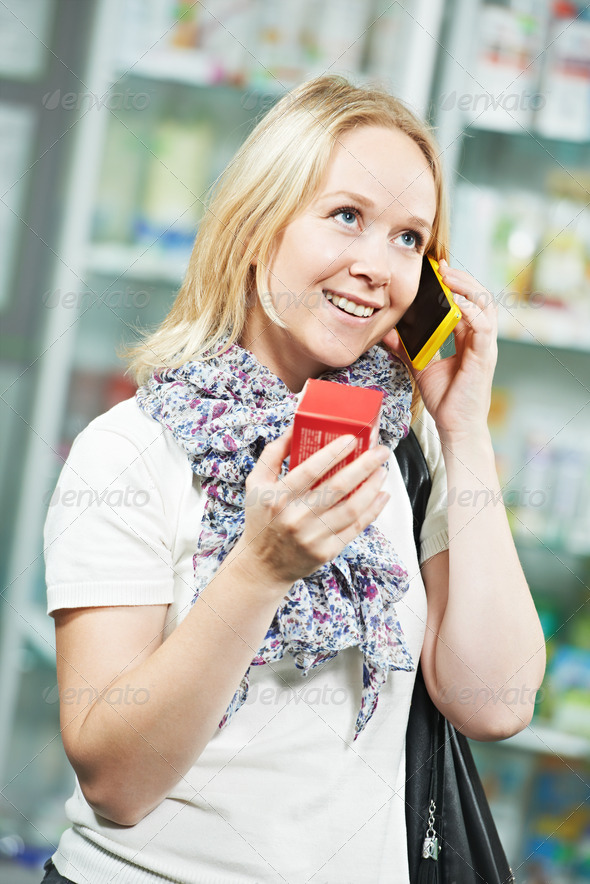 Customer at pharmacy drug store - Stock Photo - Images