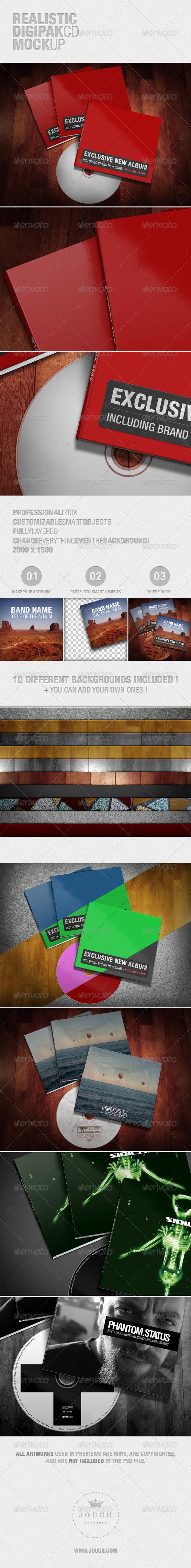 GraphicRiver Realistic Digipak CD Mockup 3977334