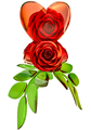 red roses and glass heart for Valentine's Day