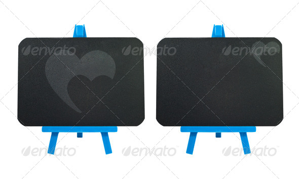 Heart on blank blackboard background - Stock Photo - Images