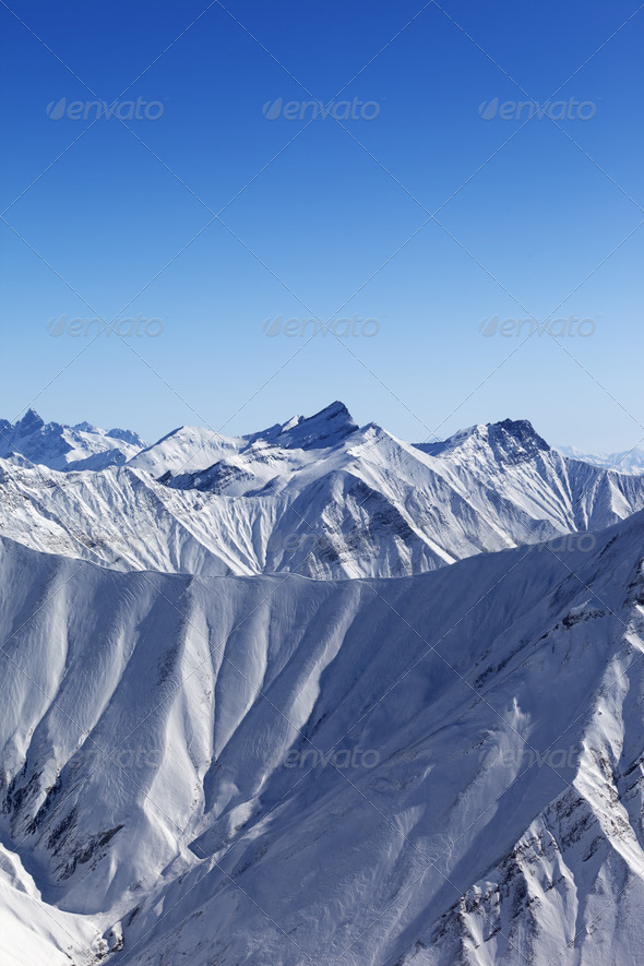 Winter mountains in nice day - Stock Photo - Images