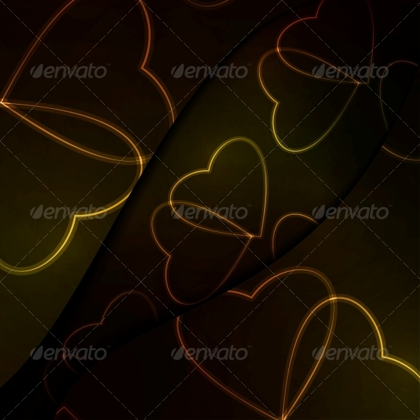 GraphicRiver Neon Hearts Futuristic Illustration 3979622