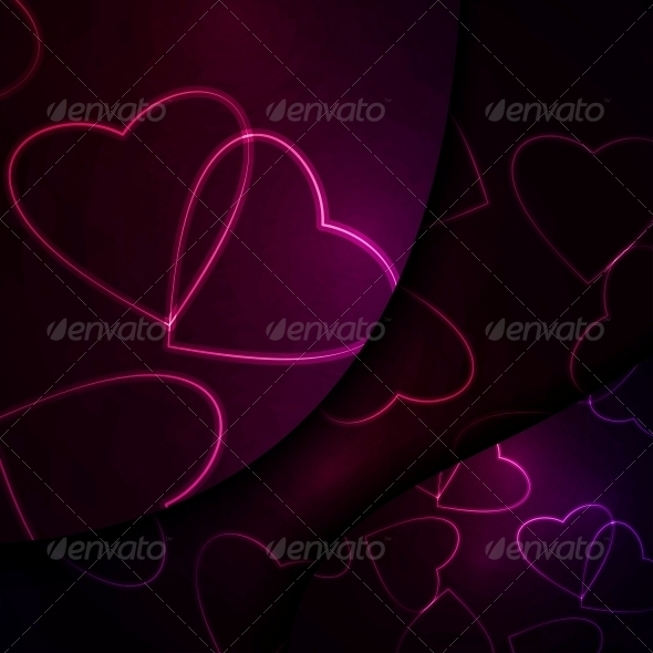 GraphicRiver Neon Hearts Futuristic Illustration 3979623