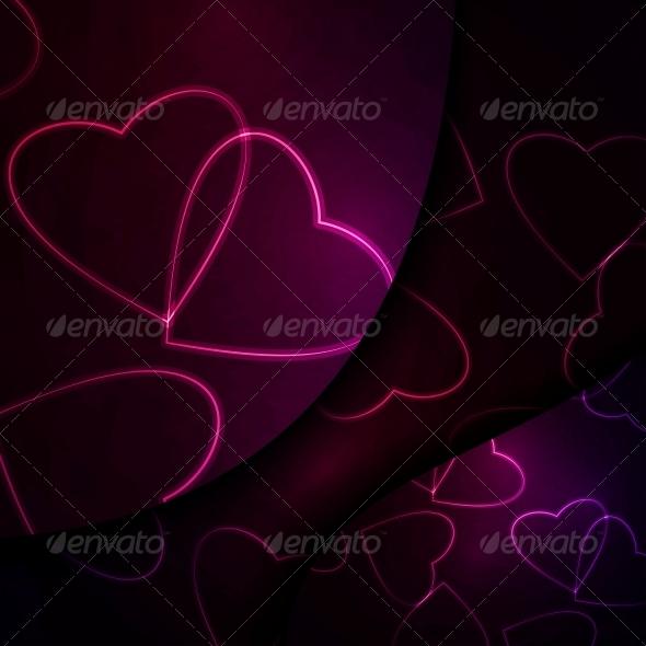 GraphicRiver Neon Hearts Futuristic Illustration 3979623