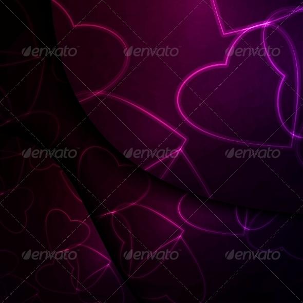 Neon Hearts Futuristic Illustration