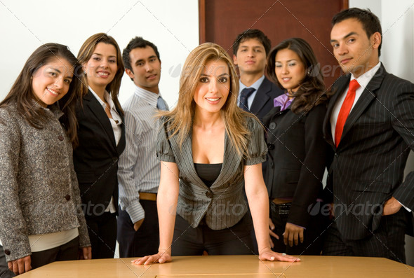 business woman leading a team - Stock Photo - Images