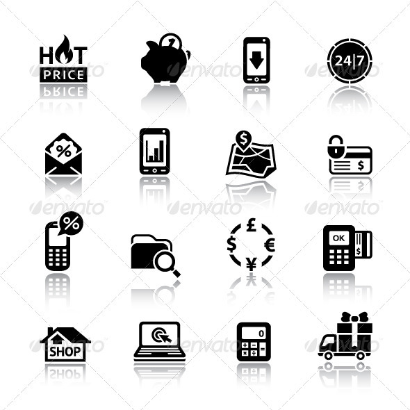 Set Pictograms Supermarket Services, Shopping Icon
