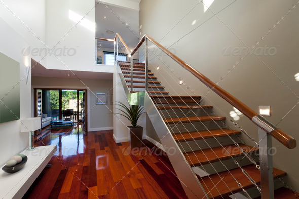 Modern house interior with staircase - Stock Photo - Images