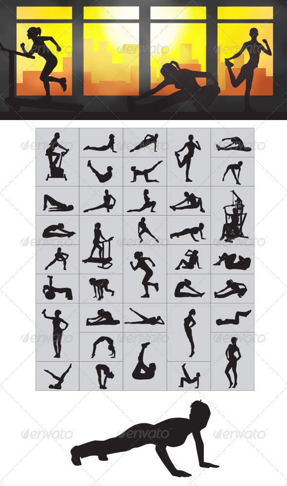 GraphicRiver Fitness Silhouettes 3981420