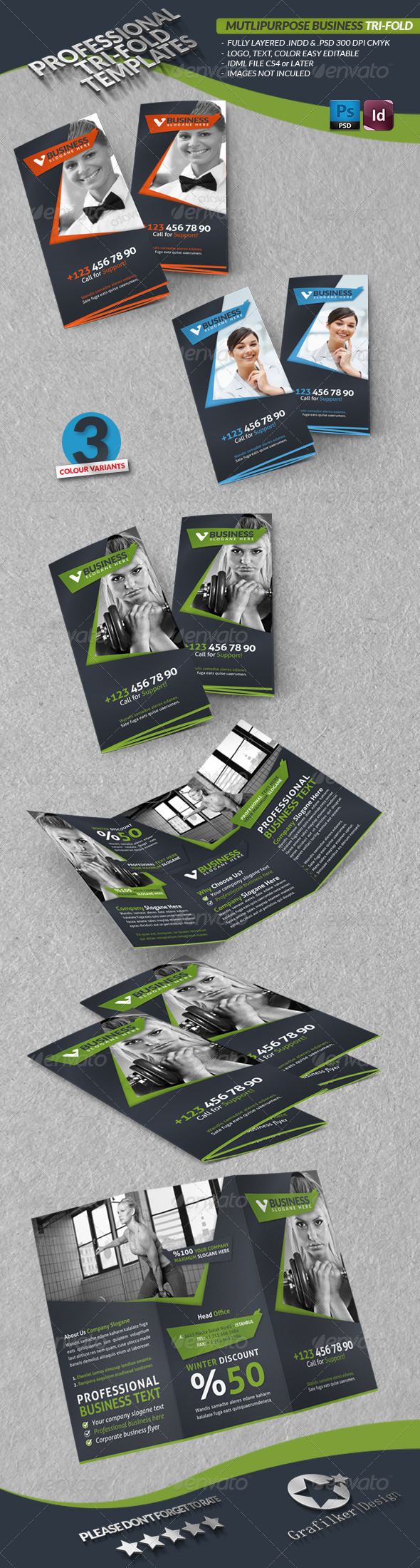 Multipurpose Business Tri-Fold - Corporate Brochures