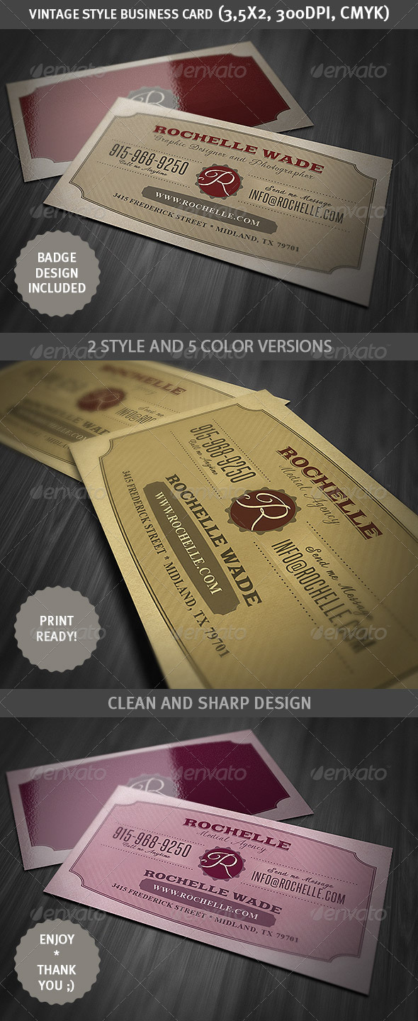 GraphicRiver Vintage Business Card 3981543
