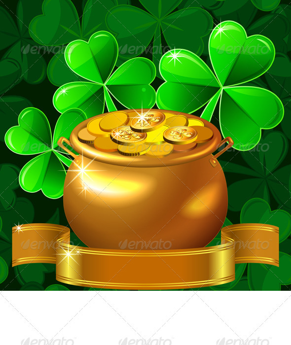 GraphicRiver Vector Patrick card with clover and gold pot 3982296