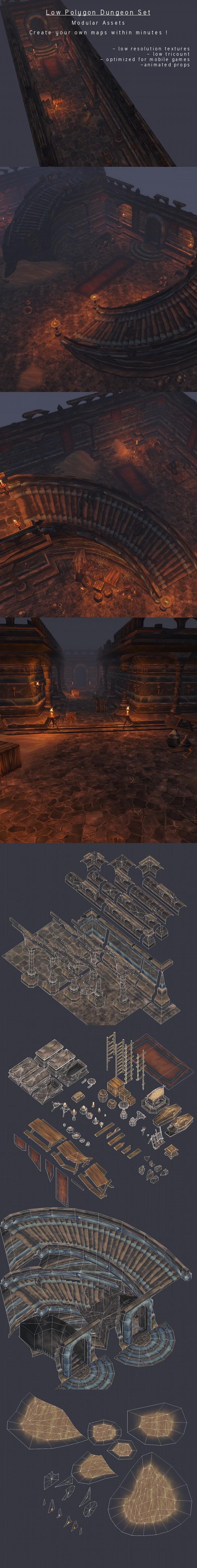 3DOcean LowPoly Modular Dungeon Set 3983637
