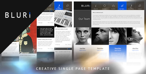 BLURI Single Page Template - Portfolio Creative