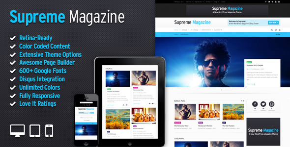 ThemeForest Supreme Retina Responsive Magazine Blog WP Theme 3959334