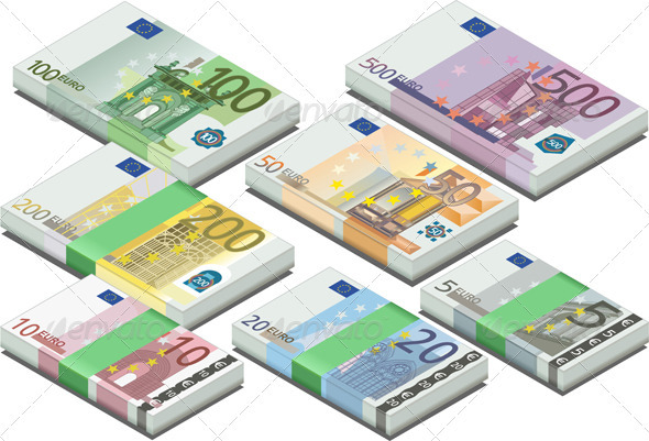 GraphicRiver Isometric Full Set of Euro Banknotes 3984382