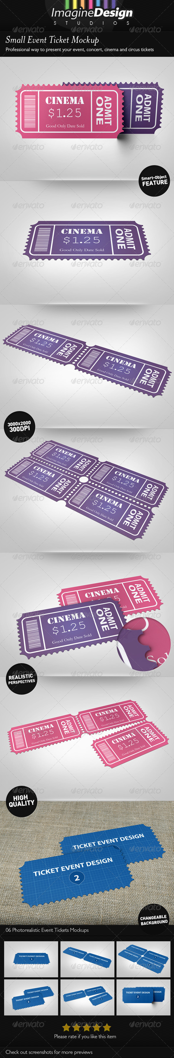 GraphicRiver Small Event Ticket Mockup 3984837