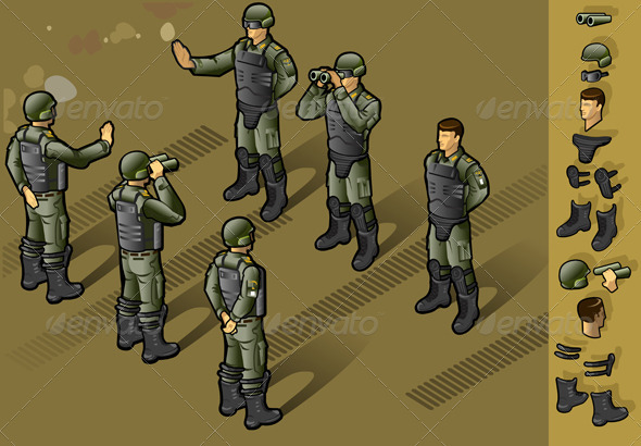 GraphicRiver Isometric Set of Military People Standing 3984977