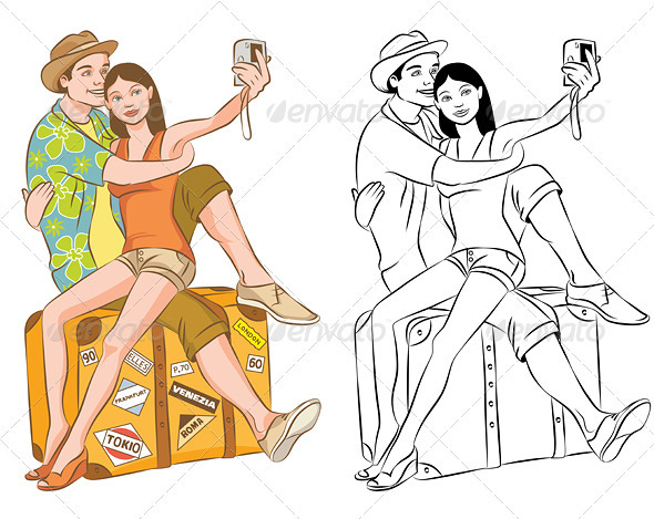 GraphicRiver Tourist Couple Taking Their Self Portrait Vector 3985208