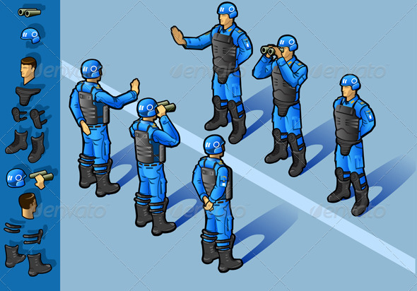 GraphicRiver Isometric Set of Military Peacekeepers Standing 3985211