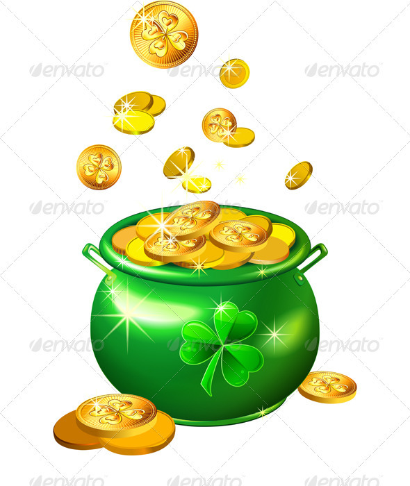 Vector St. Patrick's Day Green Pot With Gold Coins - Seasons/Holidays Conceptual